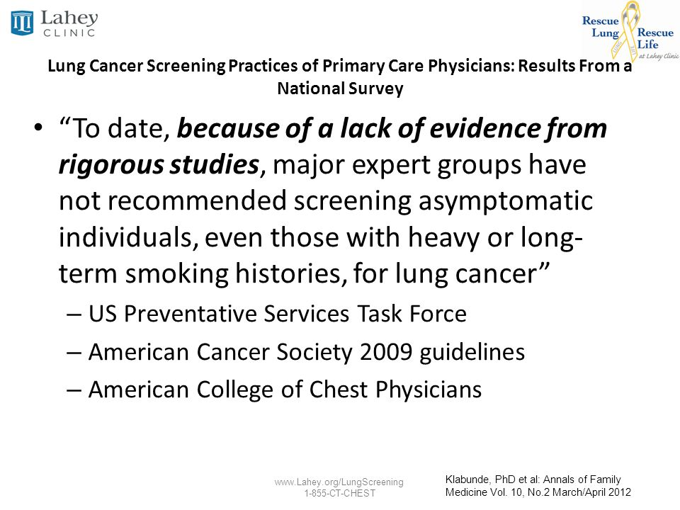 Lung Cancer Screening Practices of Primary Care Physicians: Results From a National Survey