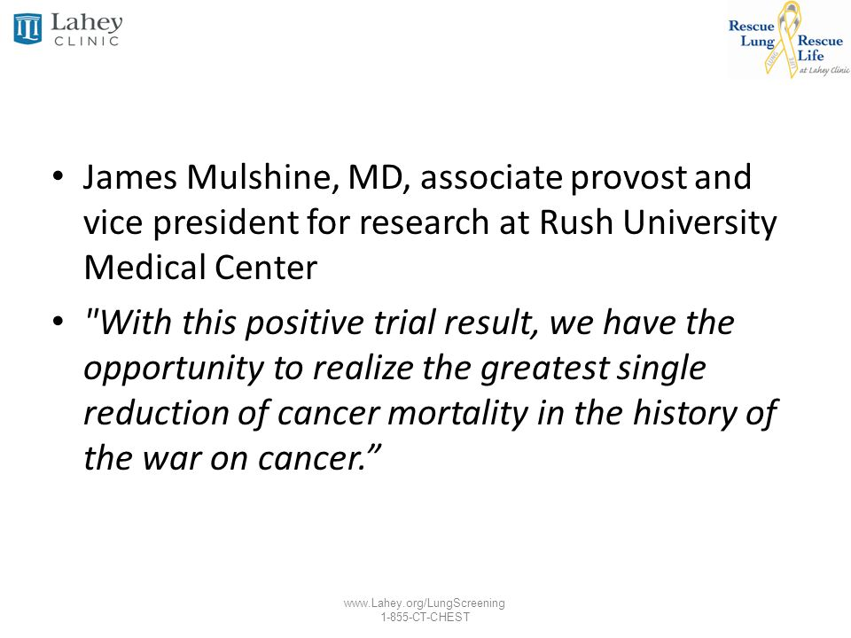 James Mulshine, MD, associate provost and vice president for research at Rush University Medical Center