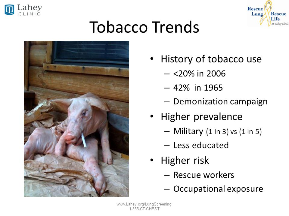Tobacco Trends History of tobacco use Higher prevalence Higher risk