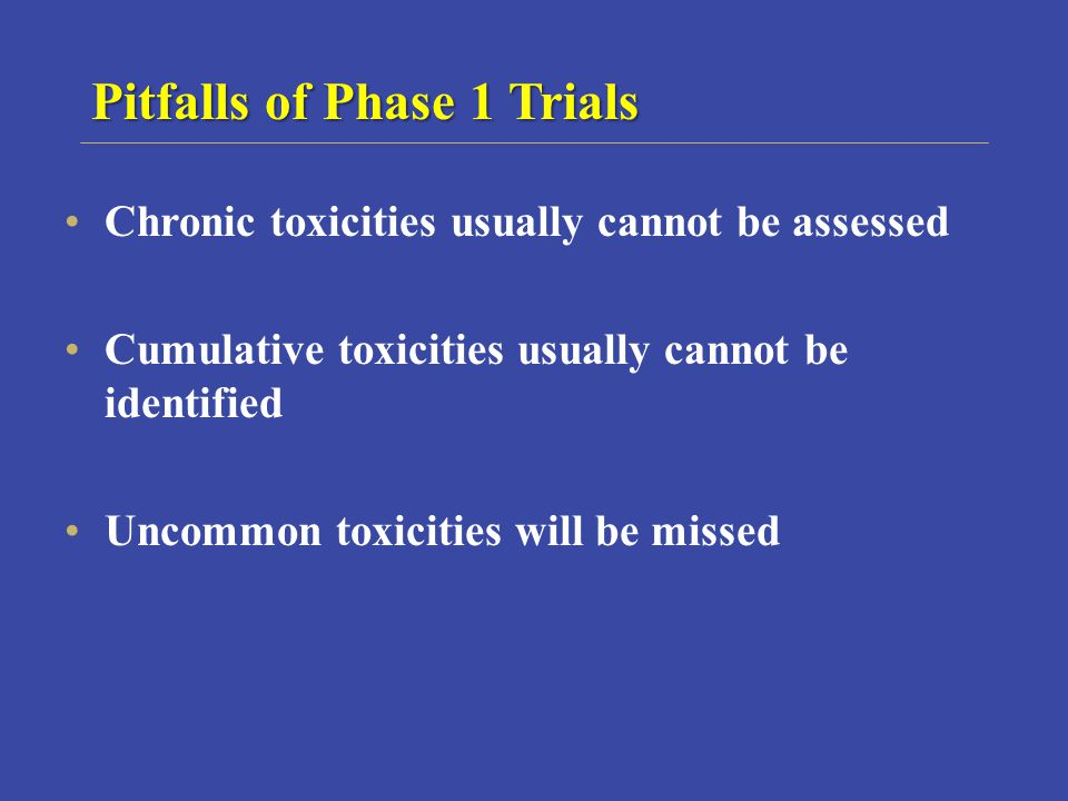 Pitfalls of Phase 1 Trials