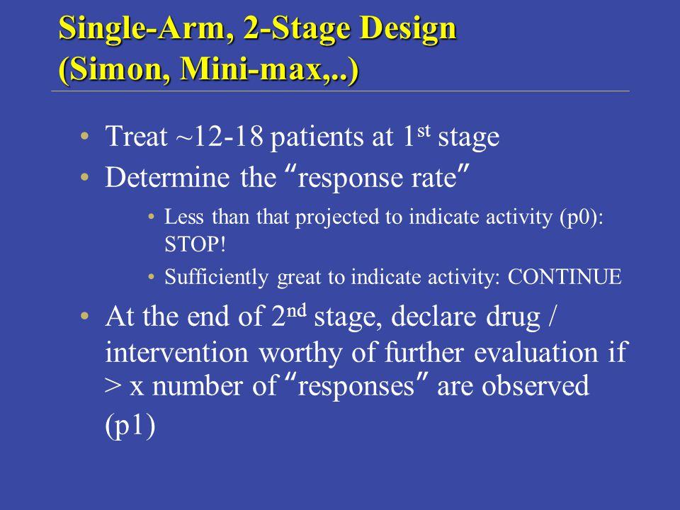 Single-Arm, 2-Stage Design (Simon, Mini-max,..)