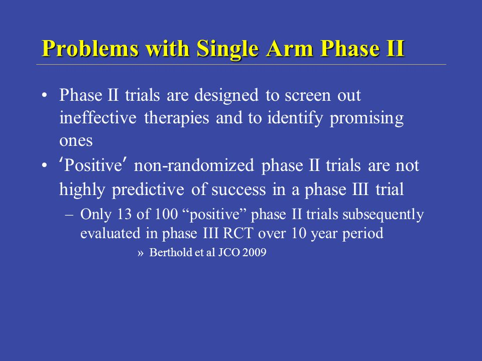 Problems with Single Arm Phase II
