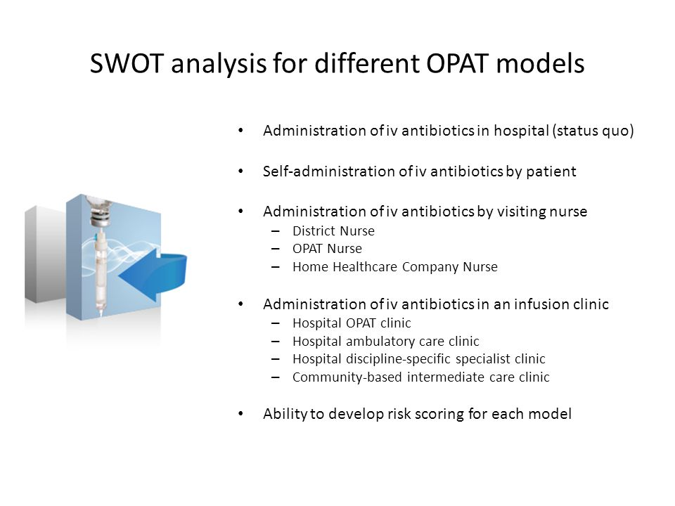 SWOT analysis for different OPAT models