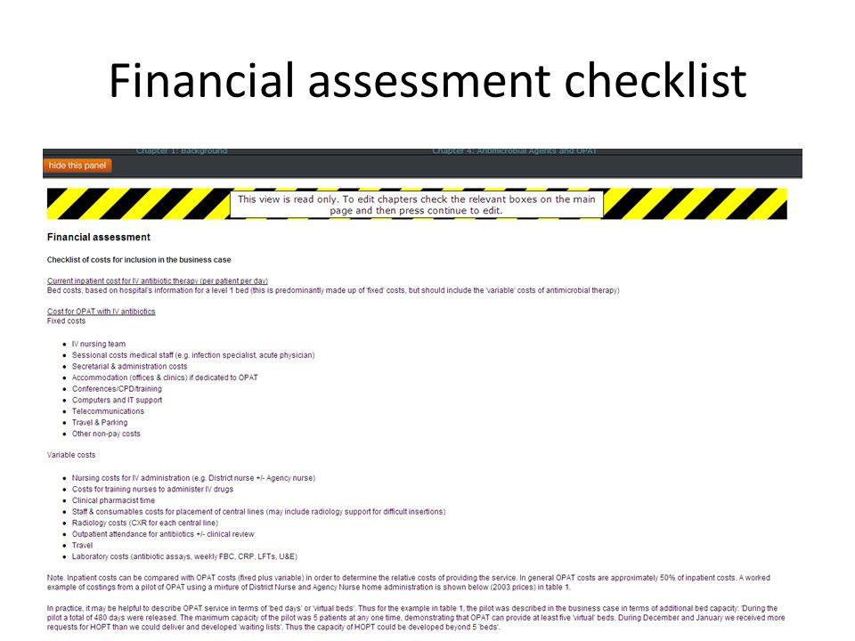 Financial assessment checklist
