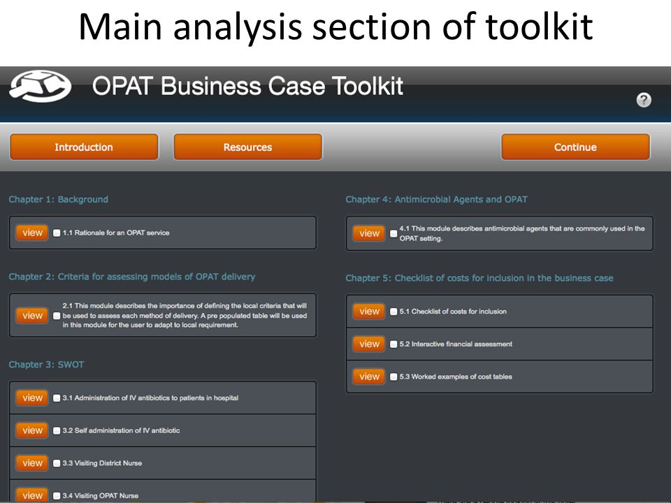 Main analysis section of toolkit