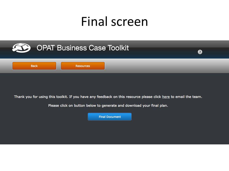 Final screen