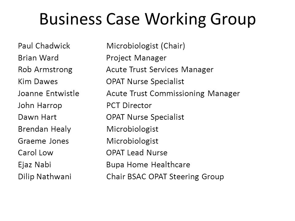 Business Case Working Group