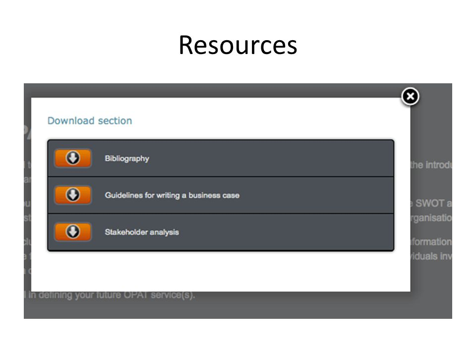 Resources From the Resources tab you will be able to download 3 separate documents: A Bibiography which you will see a sample of on the next slide.
