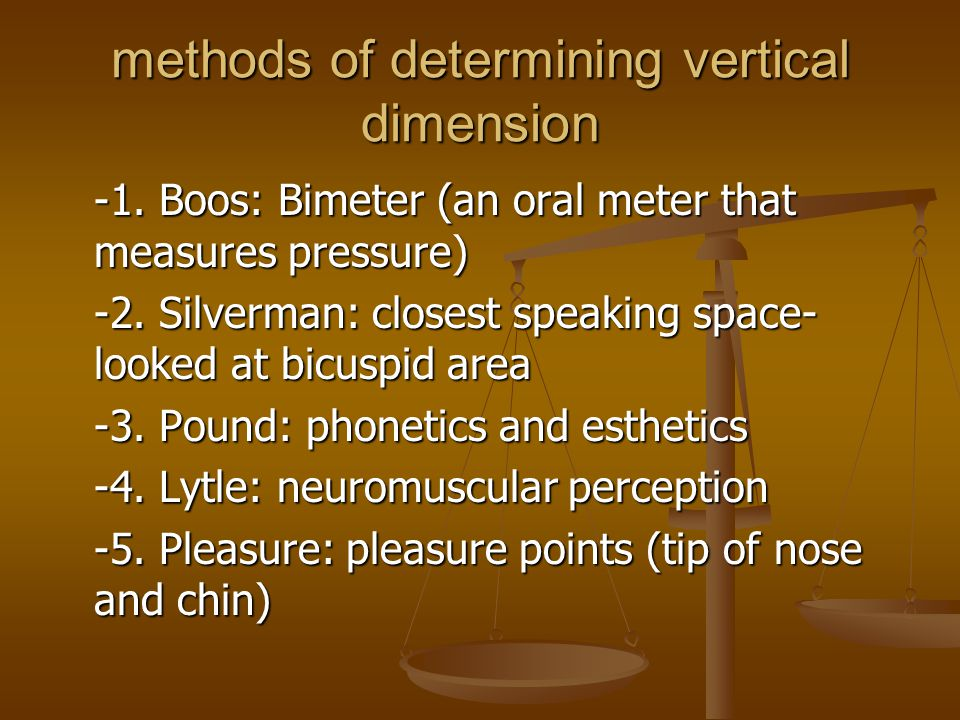 methods of determining vertical dimension