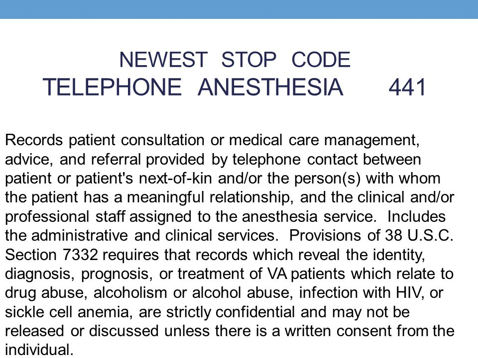 NEWEST STOP CODE TELEPHONE ANESTHESIA 441
