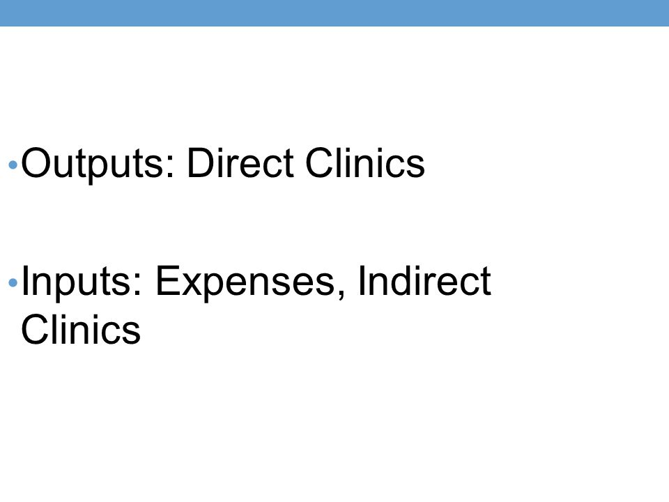 Outputs: Direct Clinics