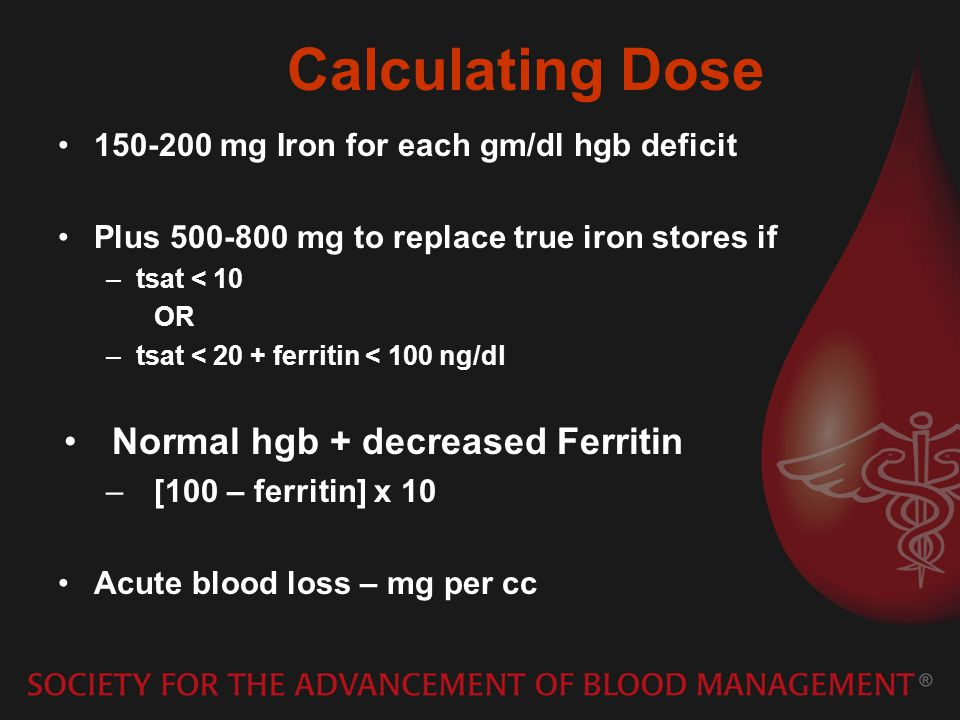 Calculating Dose Normal hgb + decreased Ferritin