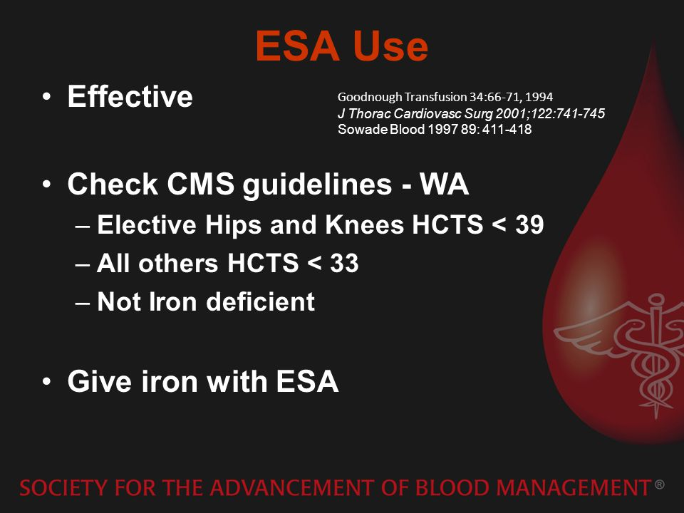 ESA Use Effective Check CMS guidelines - WA Give iron with ESA