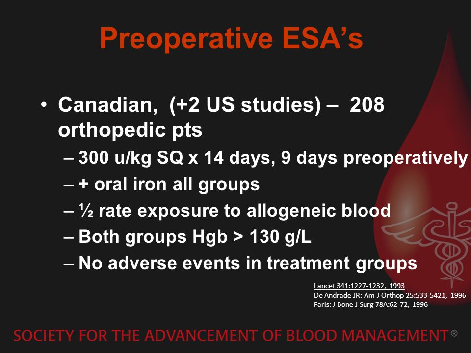 Preoperative ESA's Canadian, (+2 US studies) – 208 orthopedic pts