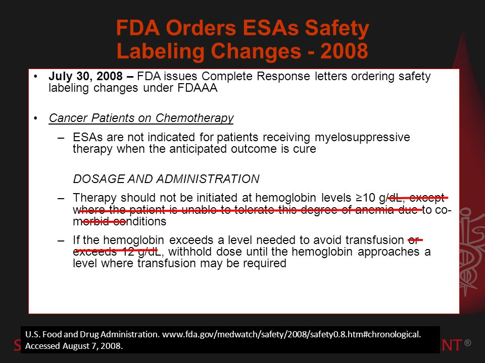 FDA Orders ESAs Safety Labeling Changes - 2008