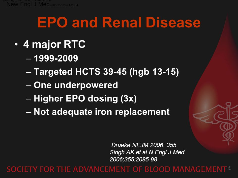 EPO and Renal Disease 4 major RTC 1999-2009
