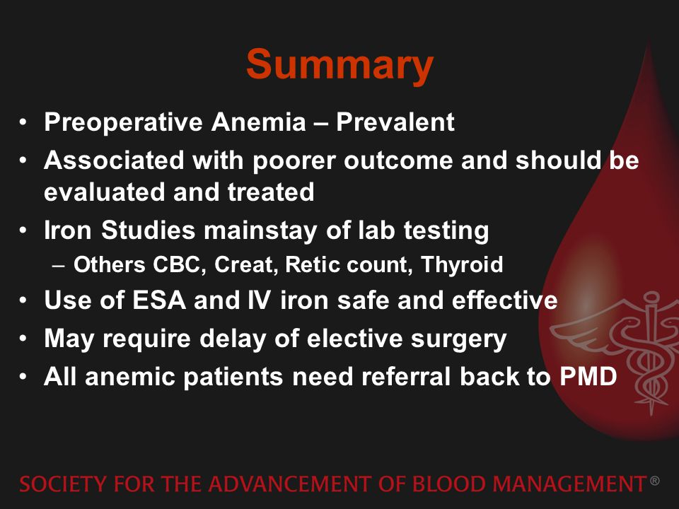 Summary Preoperative Anemia – Prevalent