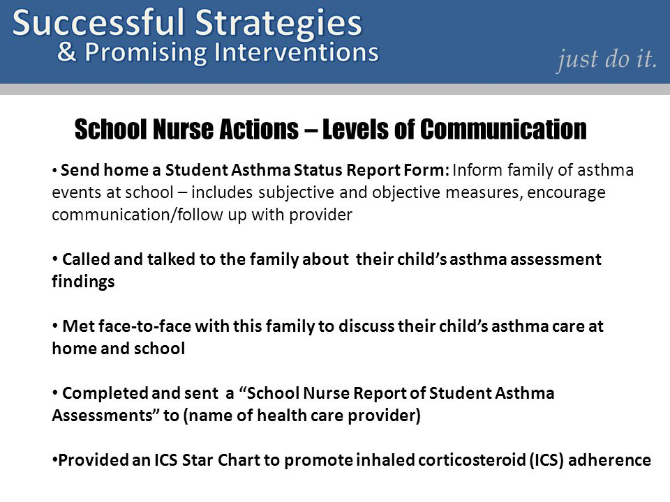 School Nurse Actions – Levels of Communication