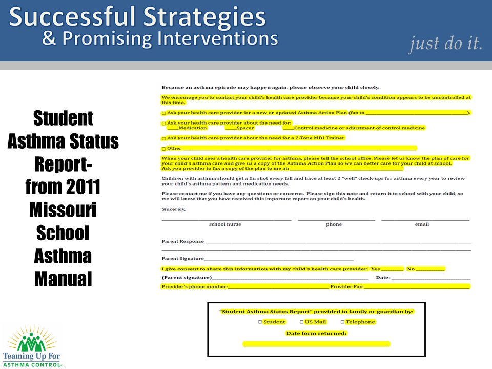 Student Asthma Status Report- from 2011 Missouri School Asthma Manual