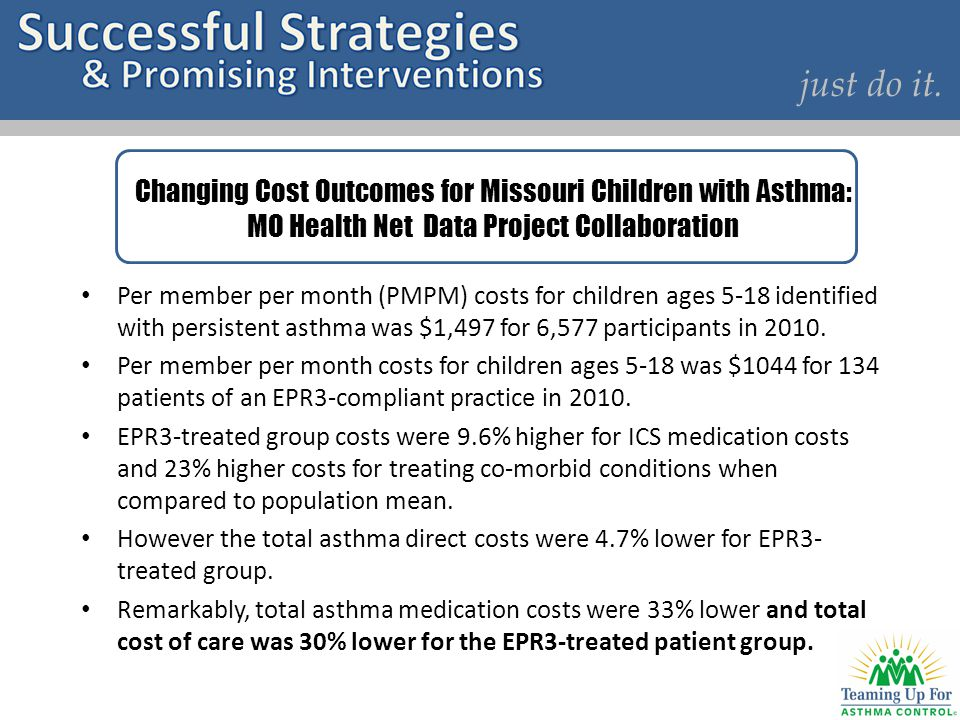 just do it. Changing Cost Outcomes for Missouri Children with Asthma: MO Health Net Data Project Collaboration.