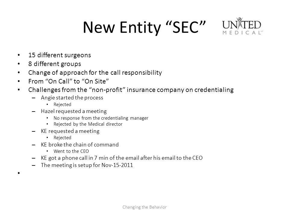 New Entity SEC 15 different surgeons 8 different groups