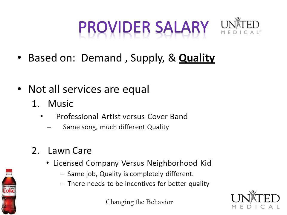 Provider Salary Based on: Demand , Supply, & Quality