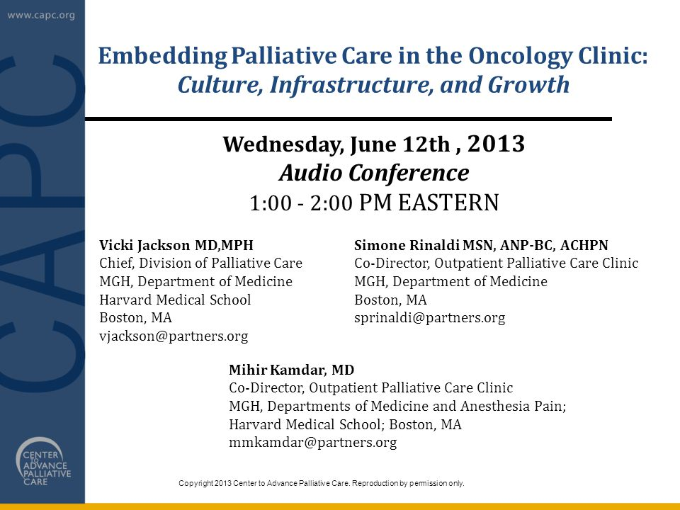 Embedding Palliative Care in the Oncology Clinic: