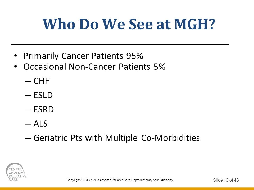 Who Do We See at MGH Primarily Cancer Patients 95%