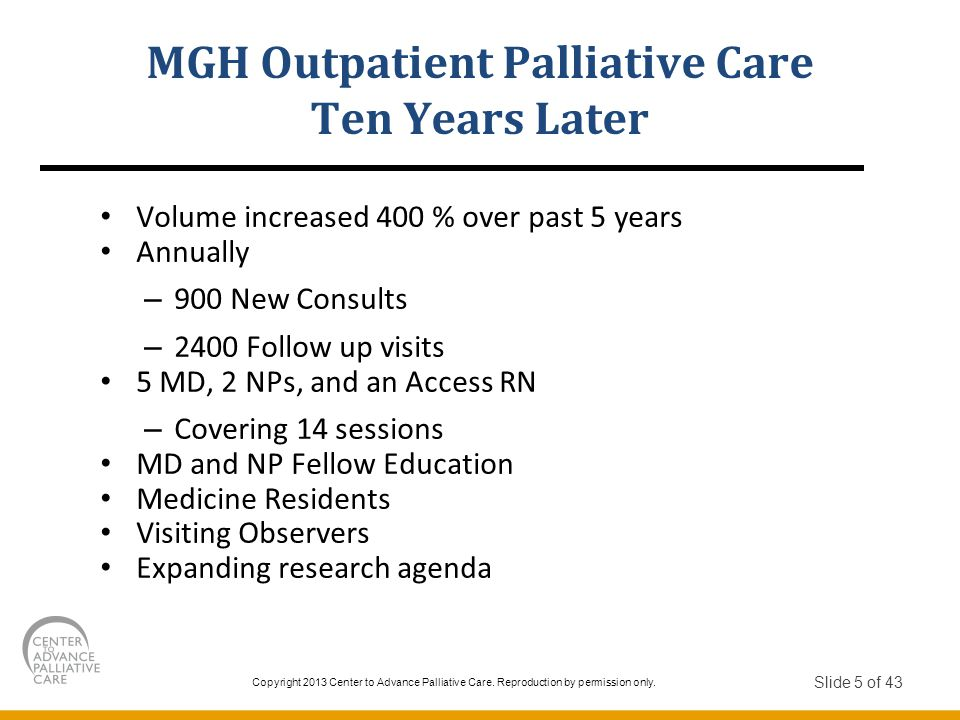 MGH Outpatient Palliative Care Ten Years Later