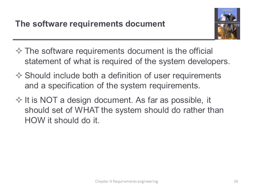 The software requirements document