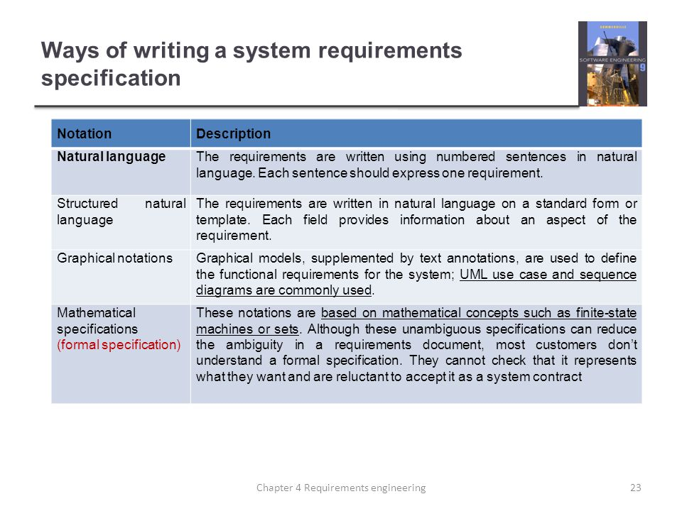Ways of writing a system requirements specification