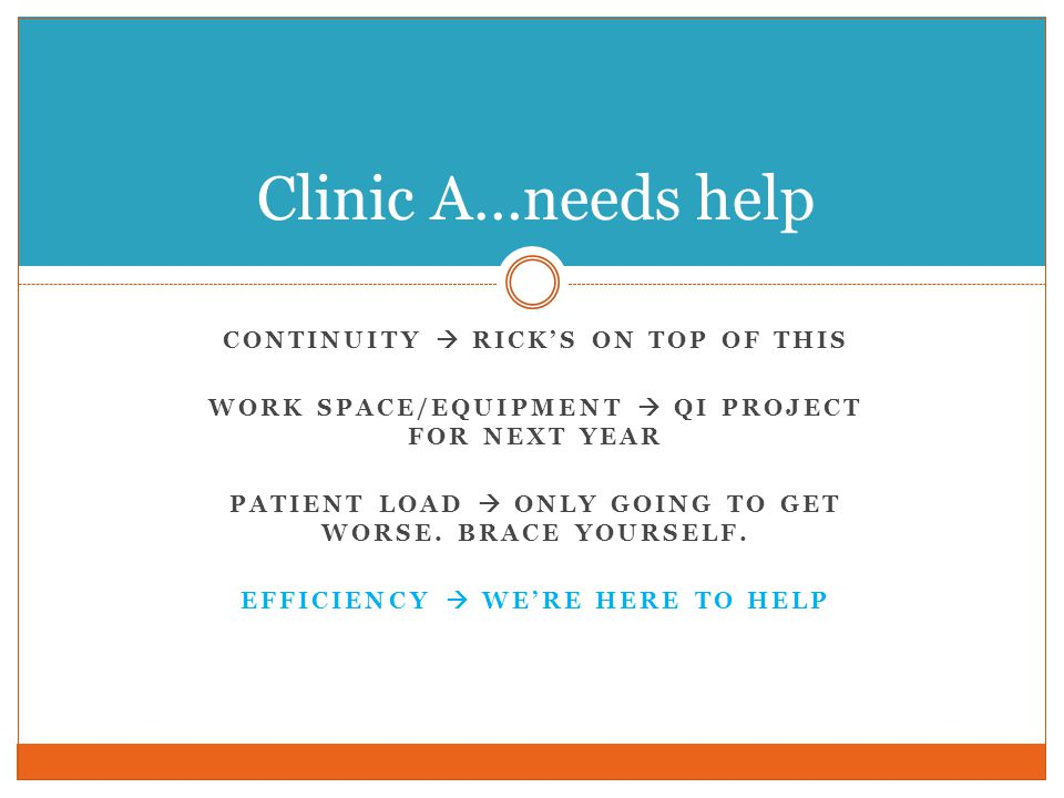 Clinic A…needs help Continuity  Rick's on top of this