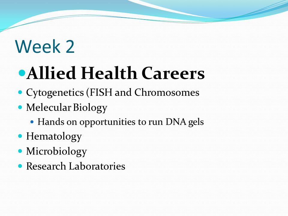 Week 2 Allied Health Careers Cytogenetics (FISH and Chromosomes
