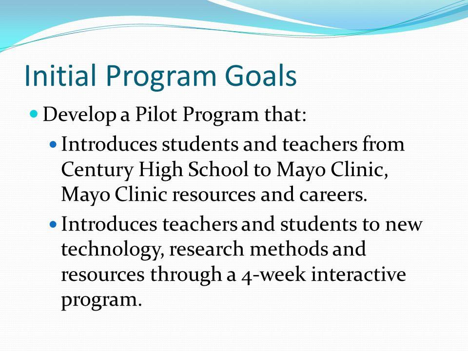 Initial Program Goals Develop a Pilot Program that: