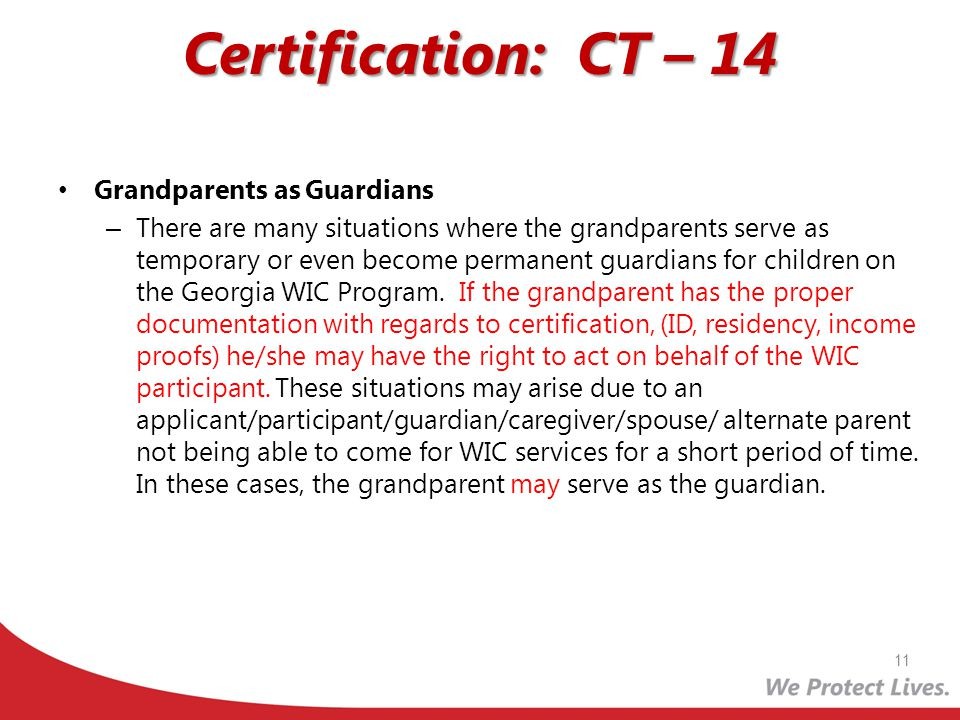 Certification: CT – 14 Grandparents as Guardians
