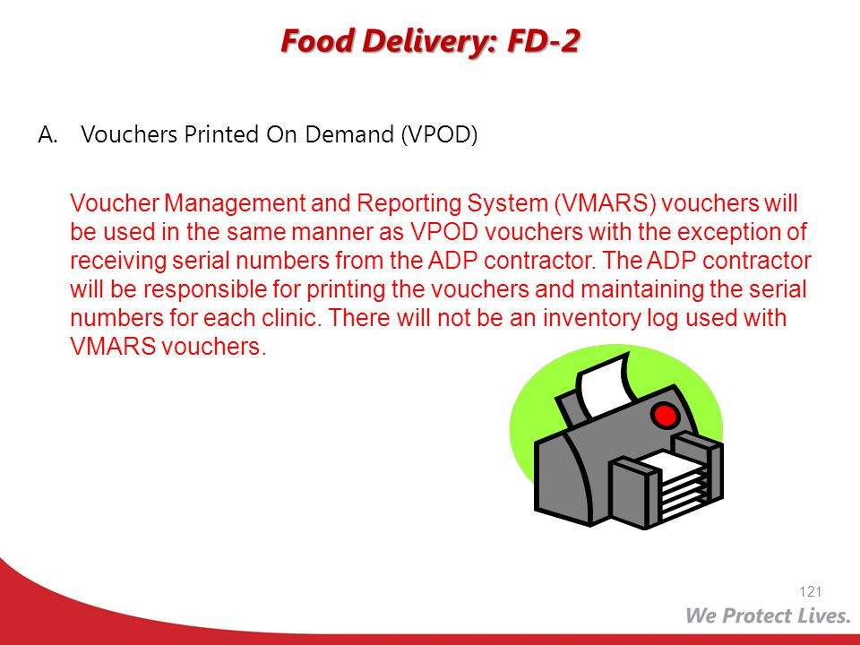 Food Delivery: FD-2 Vouchers Printed On Demand (VPOD)