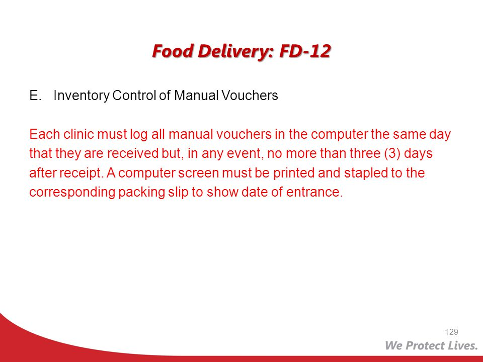 Food Delivery: FD-12 Inventory Control of Manual Vouchers
