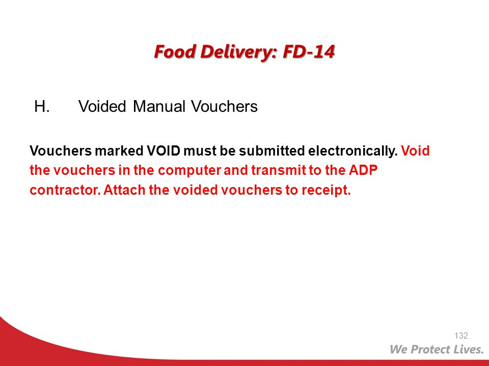 Food Delivery: FD-14 H. Voided Manual Vouchers