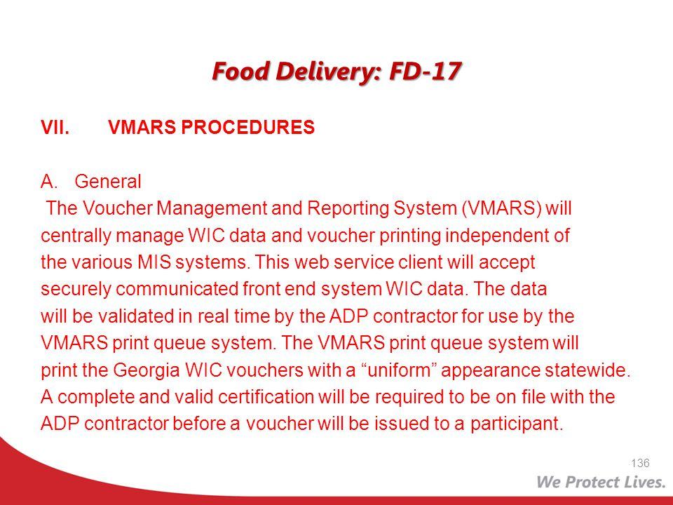 Food Delivery: FD-17 VII. VMARS PROCEDURES General