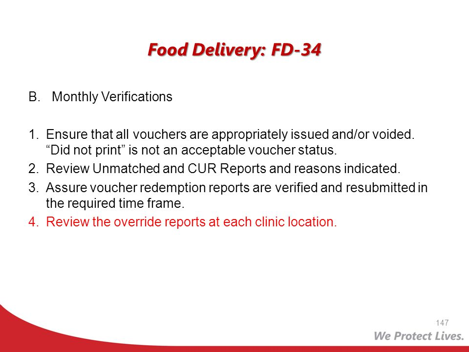 Food Delivery: FD-34 Monthly Verifications