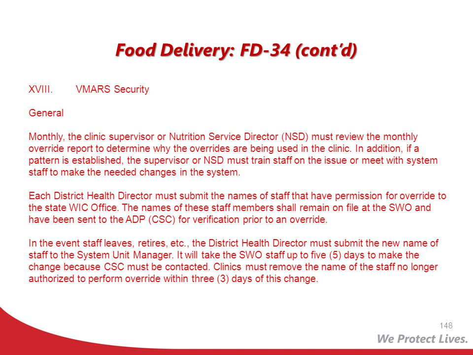 Food Delivery: FD-34 (cont'd)
