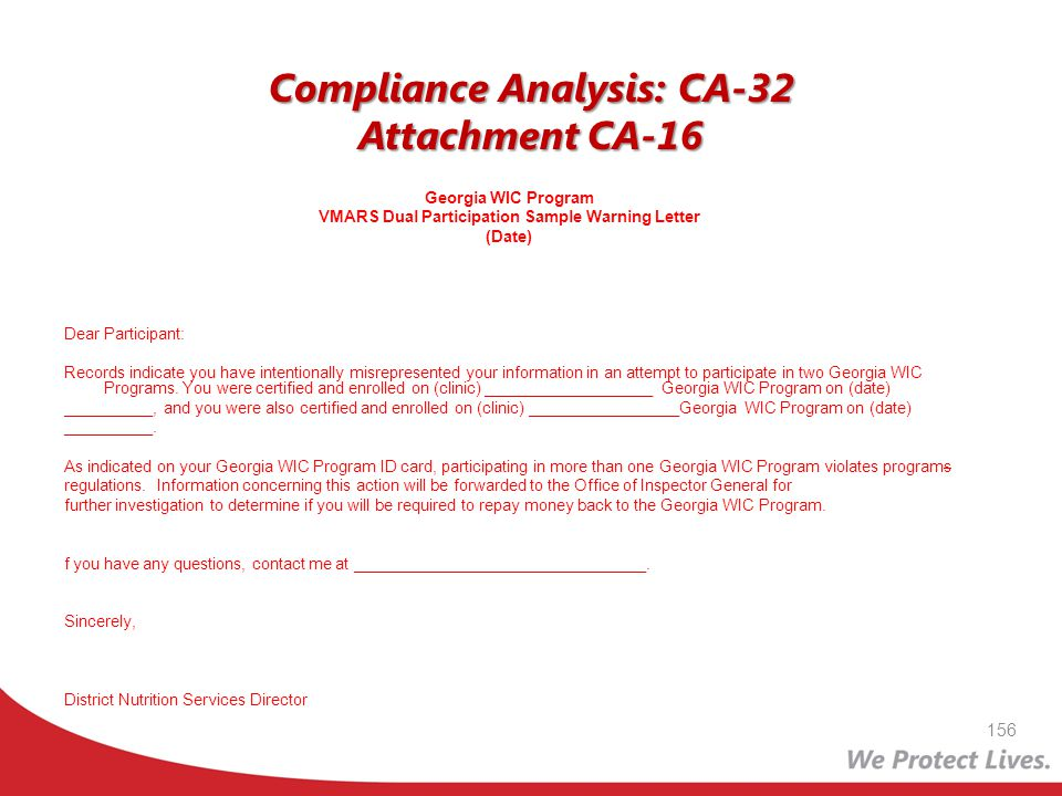 Compliance Analysis: CA-32 Attachment CA-16