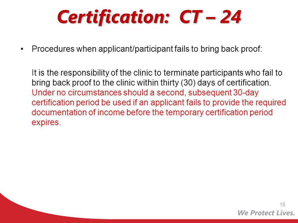 Certification: CT – 24 Procedures when applicant/participant fails to bring back proof: