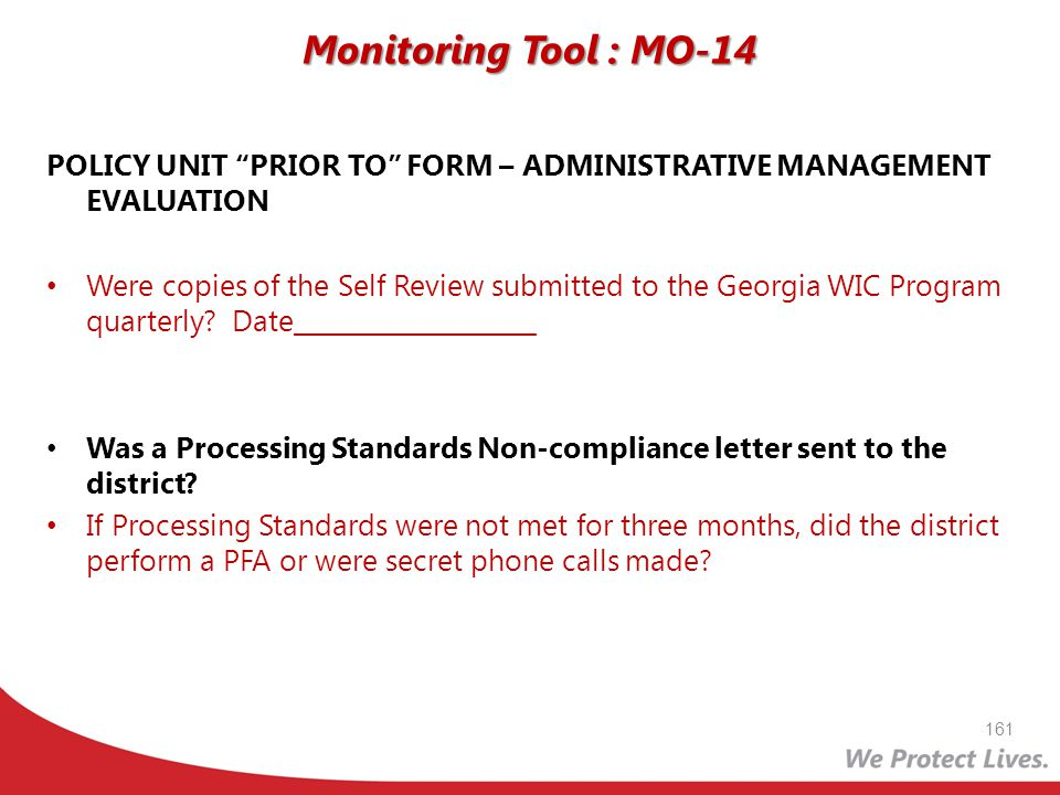 Monitoring Tool : MO-14 POLICY UNIT PRIOR TO FORM – ADMINISTRATIVE MANAGEMENT EVALUATION.