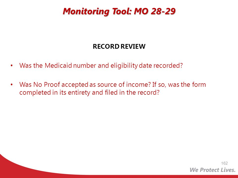 Monitoring Tool: MO 28-29 RECORD REVIEW