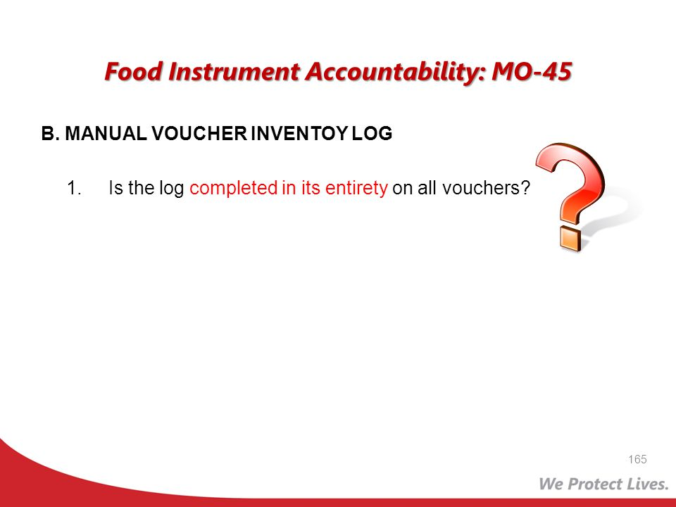 Food Instrument Accountability: MO-45