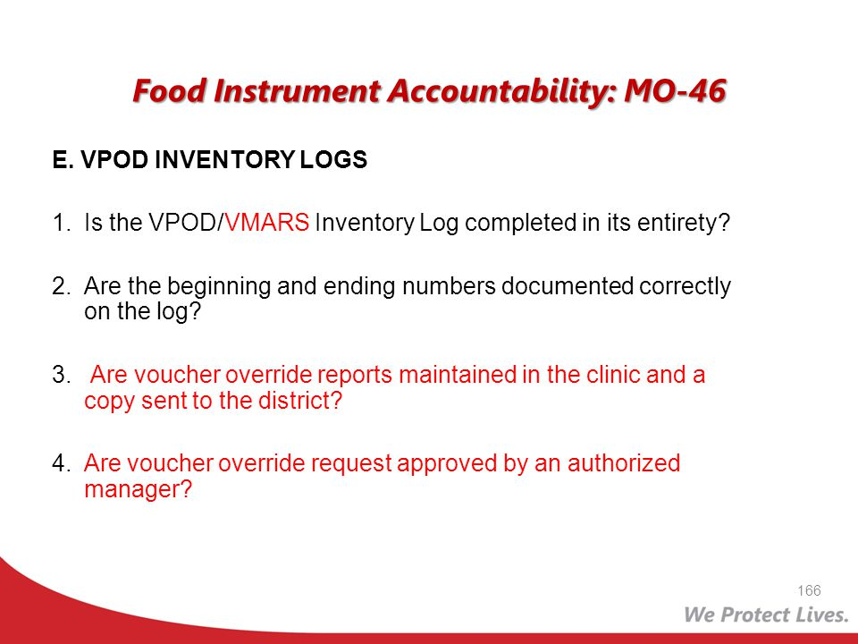 Food Instrument Accountability: MO-46
