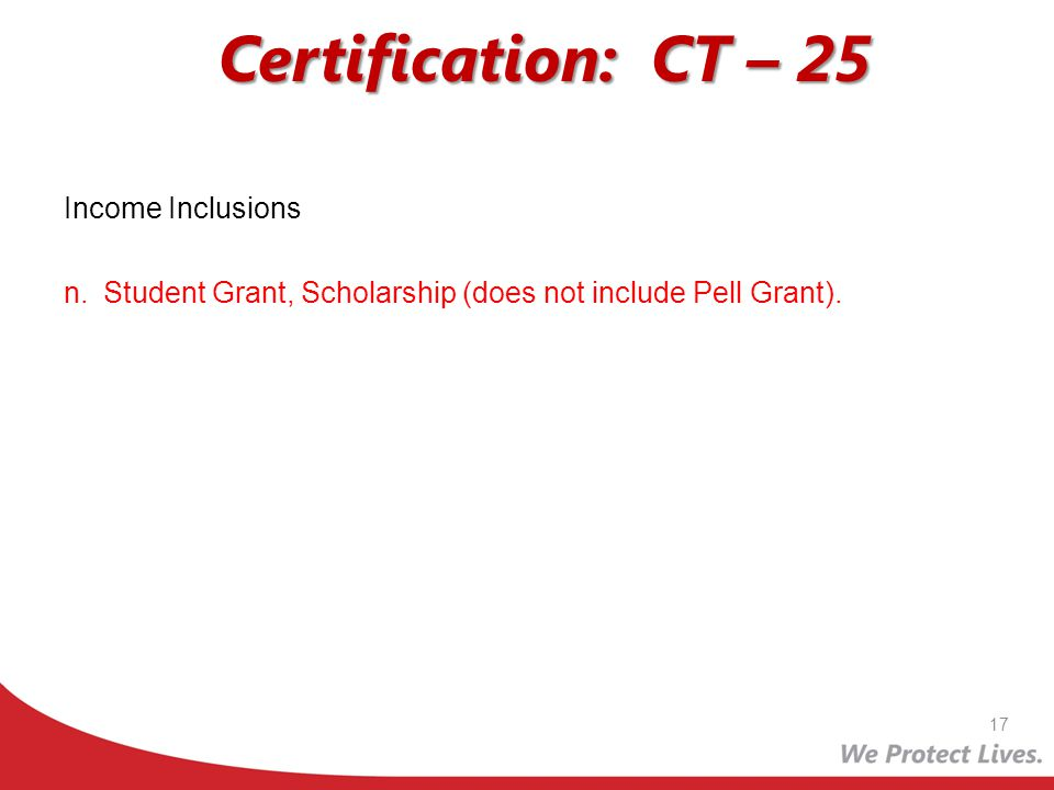 Certification: CT – 25 Income Inclusions