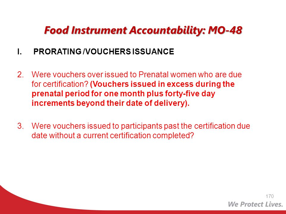 Food Instrument Accountability: MO-48