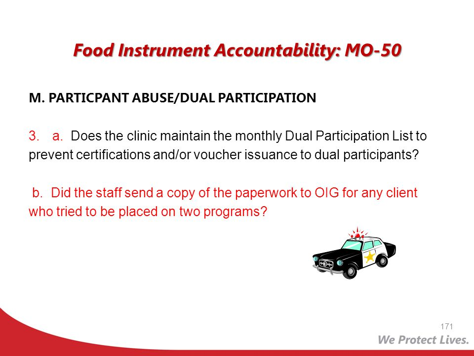 Food Instrument Accountability: MO-50